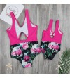 Costum de baie intreg roz cu imprimeu floral Mommy and Me