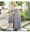 Rochie gri din bumbac elastic Mommy and Me